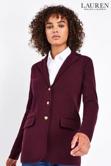 Lauren Ralph Lauren® Burgundy Ayelee Cotton Blazer