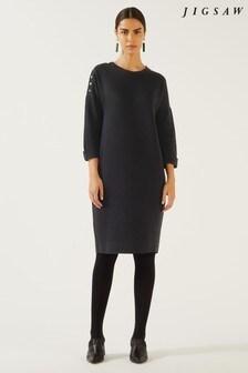Jigsaw Black Button Detail Dress