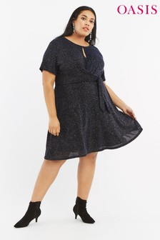 Oasis Blue Curve Glitter Tie Side Dress