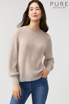 Pure Collection Natural Lofty Cashmere Ribbed Sweater