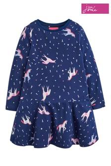 Joules Blue Josie Girls Jersey Printed Dress