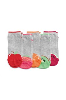 Fruit Heel Toe Trainer Socks Five Pack