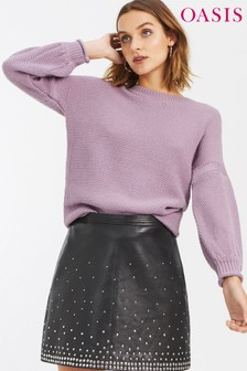 Oasis Purple Moss Stitch Jumper