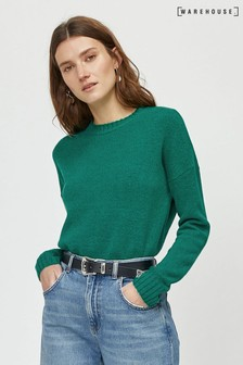 Warehouse Green Cosy Crew Jumper