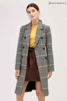 Warehouse Green Check Print Midi Coat