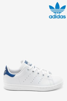 adidas Originals White/Blue Stan Smith Junior Trainers