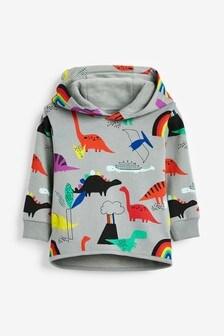 Rainbow All Over Print Dino Hoody (3mths-7yrs)