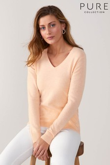Pure Collection Orange Cashmere Original Fit V-Neck Sweater