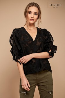 Sonder Studio Black Burnout Ruffle Top