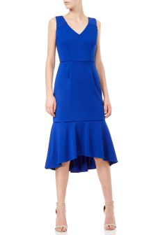 Adrianna Papell Blue Knit Crepe Highlow Dress