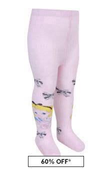 Monnalisa Girls Pink Cotton Alice In Wonderland Tights