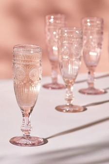 Set of 4 Pressed Champagne Flutes