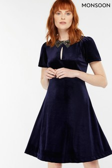 Monsoon Navy Vendella Embellished Collar Velvet Dress