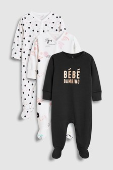 Glitter Slogan Sleepsuits Three Pack (0mths-2yrs)