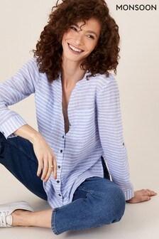 Monsoon Blue Stacy Stripe Shirt in Linen Blend