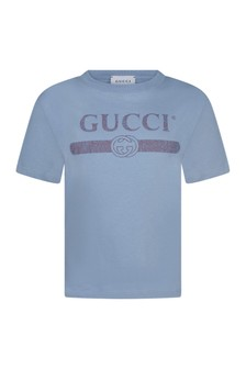 Kids Light Blue Cotton Vintage Logo T-Shirt