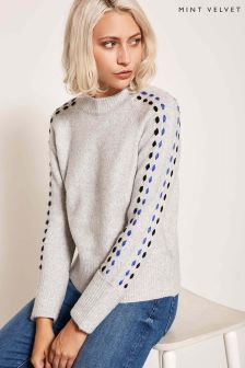 Mint Velvet Grey Ladder Stitch Detail Sleeve Knit