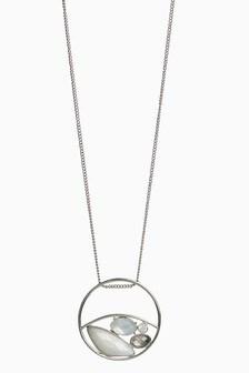 White And Jewel Stone Circle Short Pendant