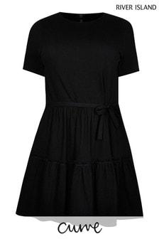 River Island Plus Black T-Shirt Tiered Smock Dress