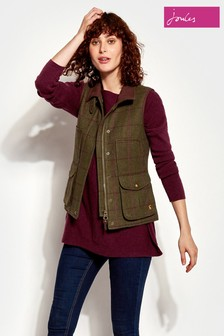 Joules Green Check Tweed Gilet