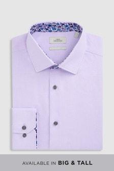 標準款剪裁單袖口撞色飾邊襯衫