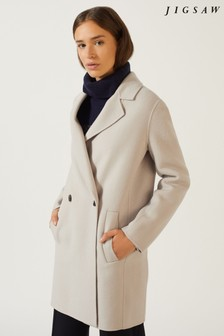 Jigsaw White DB Face Coat