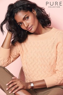 Pure Collection Orange Toccato 3/4 Sleeve Cable Sweater