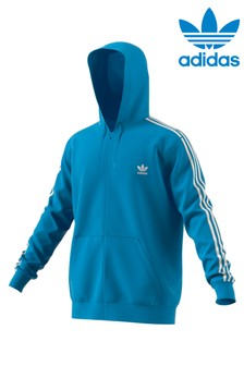 adidas Originals Blue 3 Stripe Zip Through Hoody