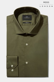 Moss London Skinny Fit Khaki Single Cuff Stretch Shirt