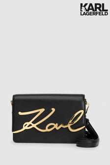 Karl Lagerfeld Black Gold Signature Shoulder Bag