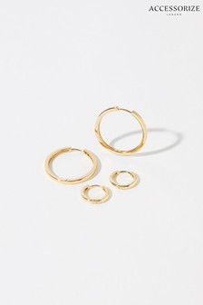 Accessorize Gold Plated Hoop Earring Set