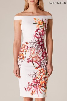 Karen Millen White Placed Orchid On Signature Stretch Dress