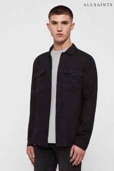 AllSaints Black Penrose Linen Shirt