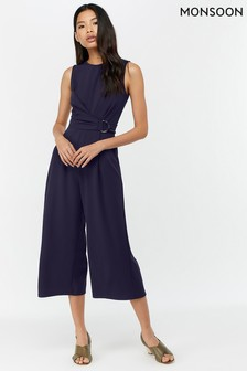 Monsoon Ladies Blue Jennifer D-Ring Crepe Wide Leg Jumpsuit