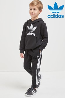 adidas Originals Little Kids Black Fleece Hooded Tracksuit