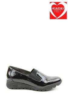 Heavenly Feet Black Ladies Slip-On Shoes