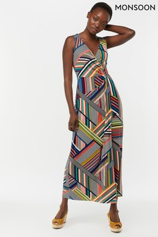 Monsoon Ladies Blue Siani Print Maxi Dress