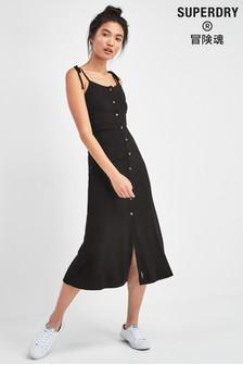 Черное платье на пуговицах Superdry