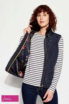 Joules Navy Quilted Gilet With Faux Fur Trim