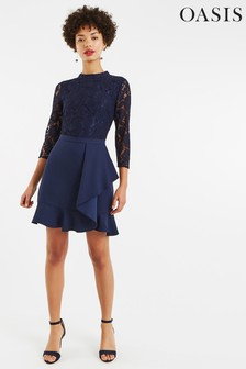 Oasis Blue Lace Flounce Shift Dress