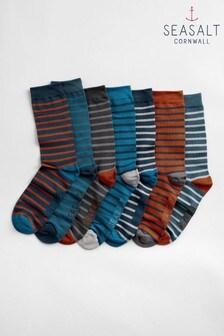 Seasalt Blue Men's Box O Socks Seven Pack Carn Cobba Mix