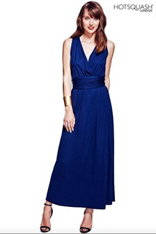 HotSquash Navy V Cross Over Maxi Dress