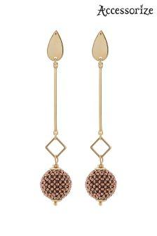 Accessorize Gold Beaded Ball Slinky Earrings
