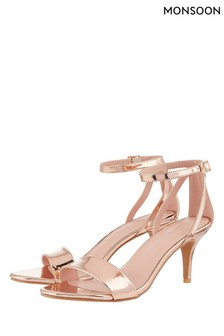 Monsoon Gold Scarlett Strappy Mirror Metallic Sandal