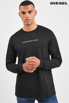 Diesel® Black Copyright Long Sleeve T-Shirt