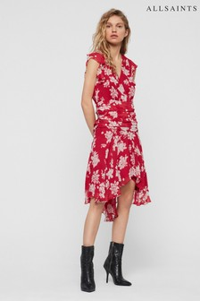 AllSaints Hot Pink Floral Caris Wrap Dress