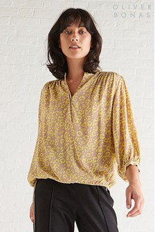 Oliver Bonas Yellow Animal Print Blouse