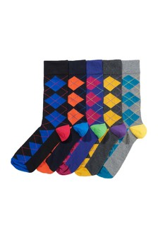 Bright Argyle Pattern Socks Five Pack