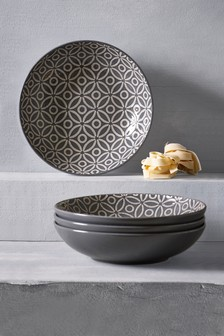 Set of 4 Geo Leaf Pasta Bowls