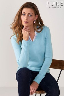 Pure Collection Blue Cashmere Original Fit V-Neck Sweater